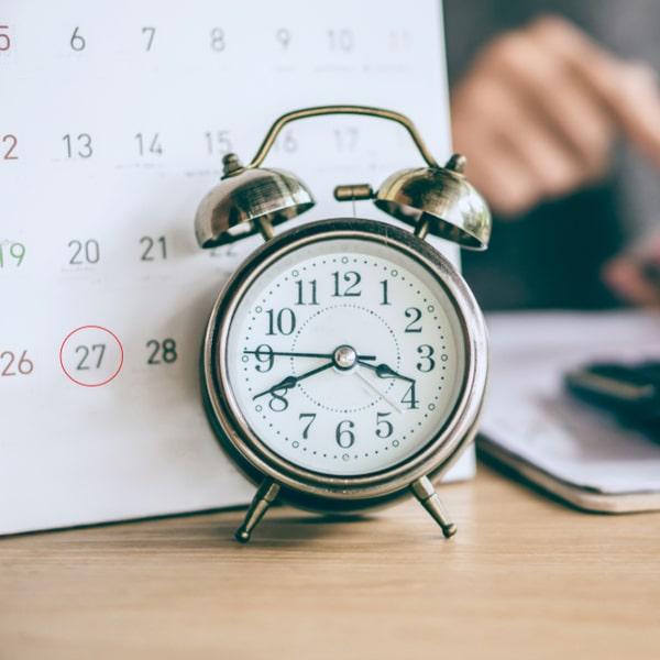 A calendar depicting the importance of regular repayments
