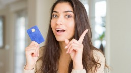 Expressing joy at getting the right credit card