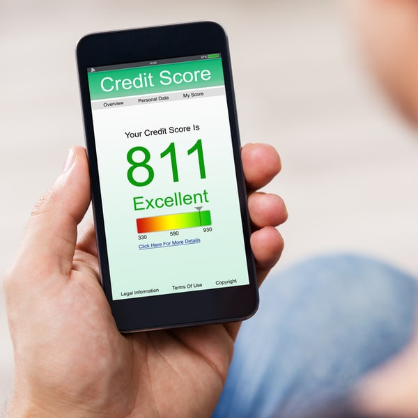 An individual checking his credit score